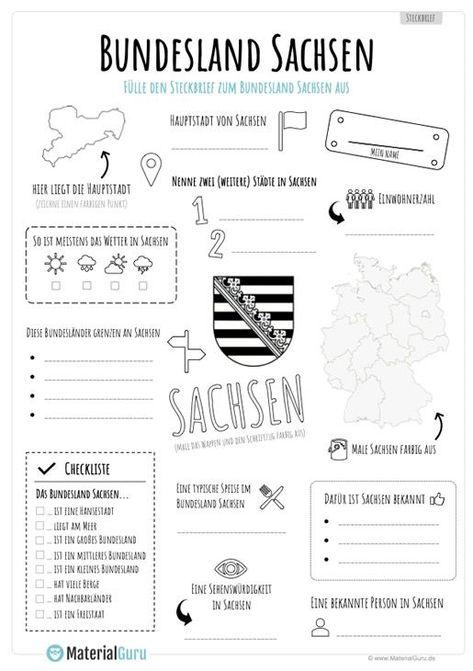 Steckbrief Bundesland Sachsen Bundesland Europa Schule Sachkunde