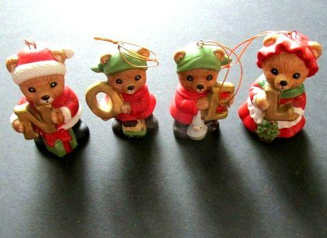 Homco Noel Bears Christmas Ornament Set of 4 Ceramic 5720 Signed w Box Vintage #Christmas