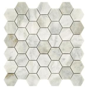 Jeffrey Court Retro Octagon White Dot 11 1 2 In X 11 1 2 In X 6 Mm Matte Porcelain Mosaic Floor And Wall Tile 96025 Marble Mosaic Hexagon Mosaic Tile Mosaic Tiles