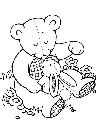 Teddy And Bunny Coloring Page Teddy Bear Coloring Pages Bear