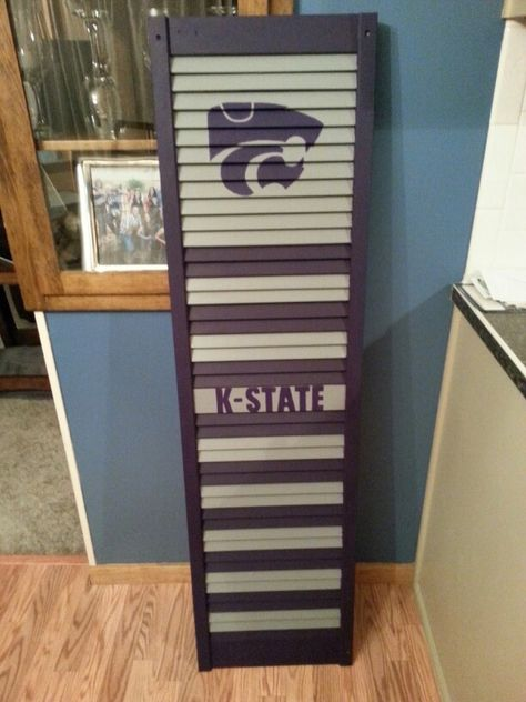 K -State hand painted wooded shutter.