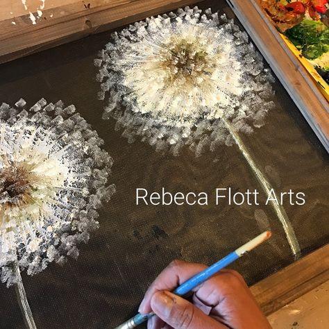 Dandelion hand painting on screenRustic Dandelion outdoor