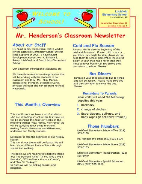 Preschool Newsletter Samples With Images Preschool Newsletter