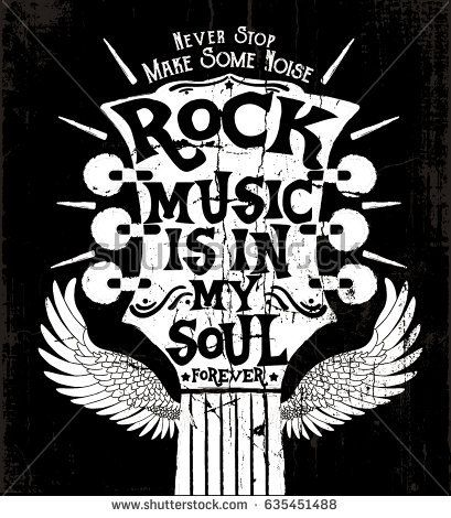 rock music concept print design as vector with grunge texture