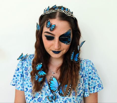 Butterfly makeup. Blue makeup. Crown with butterflies #butterfly #butterflies #butterflymakeup #bluemakeup #makeuplover #makeupblogger #makeupbyme