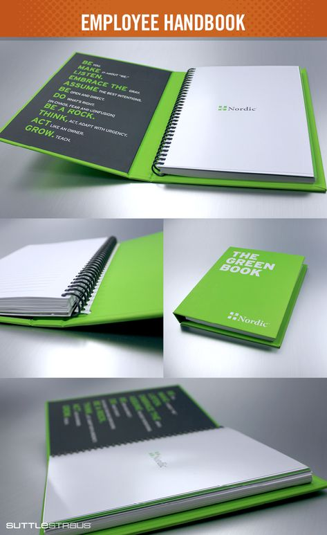 Nordic does employee onboarding right with The Green Book. The hard case's inside cover reminds team members of the company values with each use. The sprial-bound lined notebook inserts are replaceable so it can be used for a lifetime. See more employee onboarding ideas here.