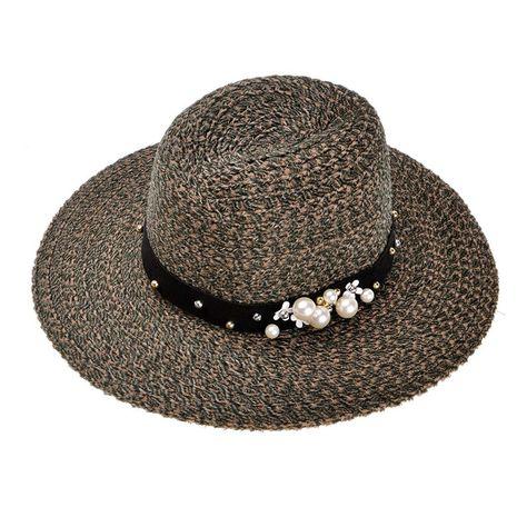 981284abd47 Women Velvet Textured Fashion Elegant Pearl Fedora Floppy Hat - Khaki -  CE128HS2KTR - Hats   Caps