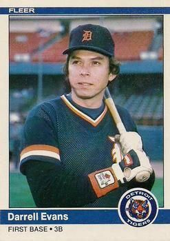 1984 Fleer Update 36 Darrell Evans Detroit Tigers Baseball Card