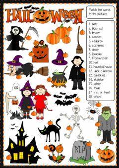 Halloween Matching Idioma Ingles Curso Nivel Elementary Asignatura English As Halloween Worksheets Halloween Worksheets Kindergarten Halloween Vocabulary Halloween worksheets pic word matching