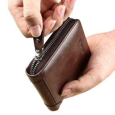 Leather Wallet With Large Zipped Coin Pocket and Button Closer RFID Protected