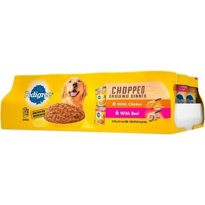 Pedigree Chopped Ground Dinner Multipack Beef Chicken Canned