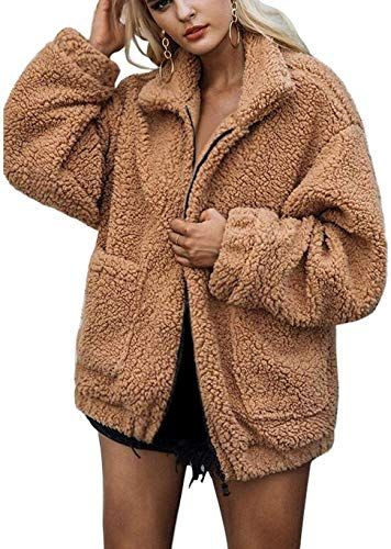 loukou Fashion Winter Warm Women Casual Long Sleeve Artificial Fur Coat Outwear