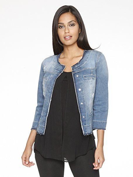 zu Füßen bei verschiedenes Design neue Produkte für Damen Kim Kara Jeansjacke Strassdeko Ohne Kragen Damen Kim ...