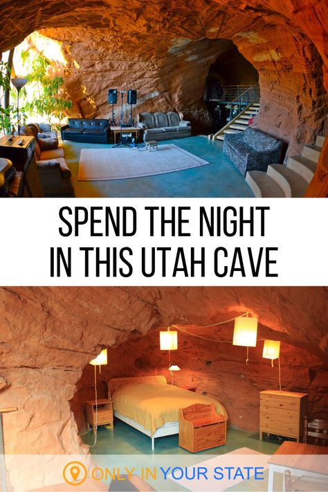 If you're looking for a unique vacation this Utah bed and breakfast in a cave may be the best choice. It's so much cooler than a hotel and has all the amenities you'll need. Right in the Grand Stairca Utah Vacation, Vacation Places, Vacation Trips, Vacation Spots, Places To Travel, Travel Destinations, Vacation Ideas, Honeymoon Places, Unique Vacations