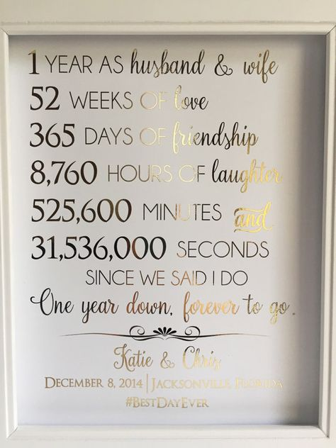 Gold Foil Print First 1st Anniversary Gift For by LaJoliBijou