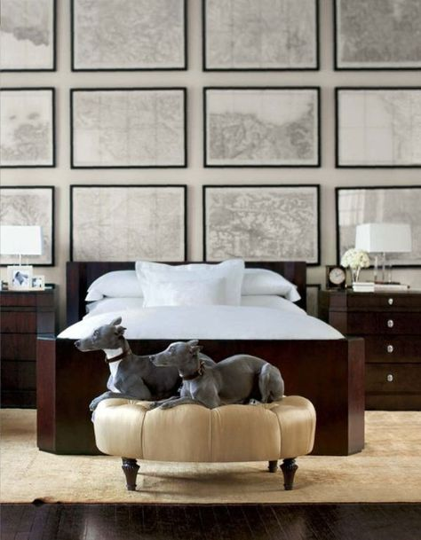 Modern elegance with a vintage homage. Lovely wall full of black & white maps, great idea for above headboard wall art...