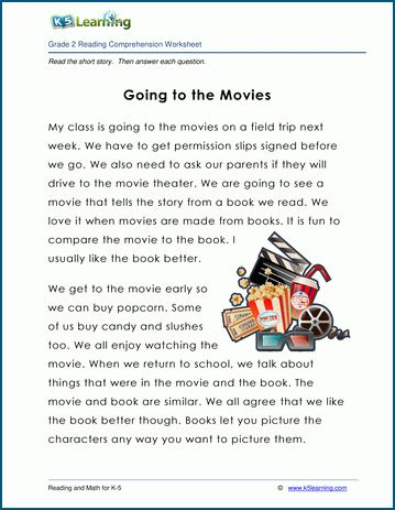 Going To The Movies Grade 2 Children S Story K5 Reading Comprehension Worksheets Third Grade Third Grade Reading Worksheets 2nd Grade Reading Comprehension