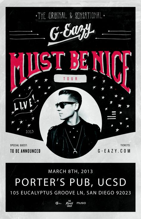 G-Eazy live in San Diego March 8th tickets at www.Th3company.com