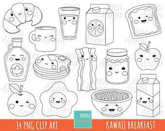 Food Icons Kawaii Digital Stamps Kawaii Food Icons Cute Etsy In 2020 Digital Stamps Digi Stamp Art Drawings For Kids