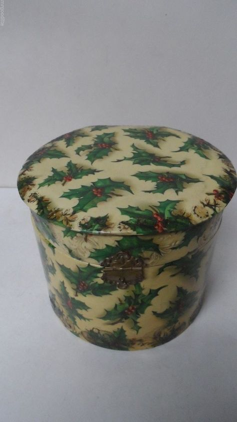 Stunning Very Old Victorian HOLLY Covered CELLULOID COLLAR Box