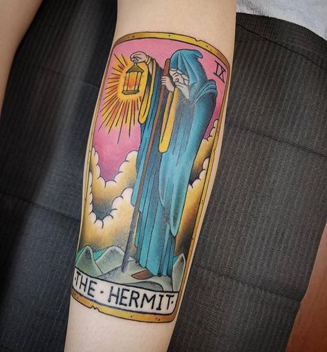 Hermit tarot tattoo There is so much to be learned from a Tarot card reading -- it can be like our medicine, the start of a spiritual awakening. Tarot card tattoos are an...