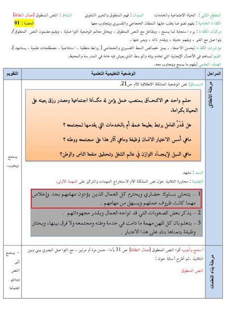 مذكرات السنة الخامسة ابتدائي في اللغة العربية المقطع الثاني الاسبوع الاول من اشرف المهن