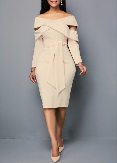Off the Shoulder Light Khaki Belted Dress
