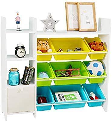 Mallbest 4 Tier Kids Toy Storage Organizer Shelf 100 Solid Wood Children S Storage Cabinet With 9 Plastic In 2020 Toy Storage Organization Toy Storage Kids Storage