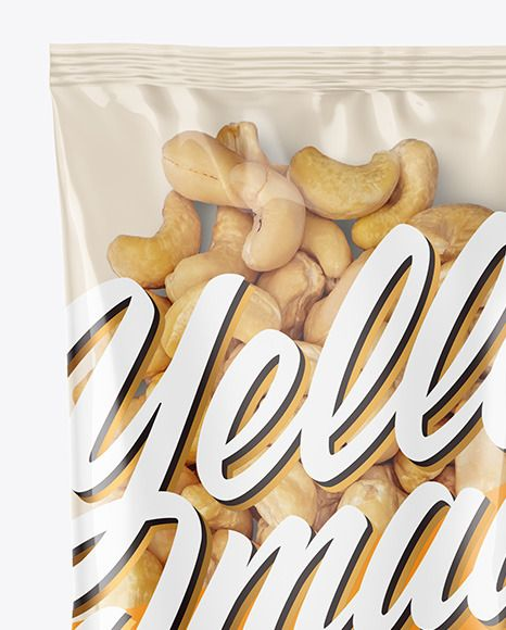Download Clear Plastic Pack W Cashew Nuts Mockup In Bag Sack Mockups On Yellow Images Object Mockups Cashew Nut Mockup Packaging Mockup