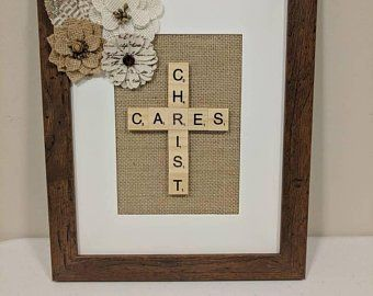 Items Similar To Burlap Cross Picture Frame On Etsy Cross