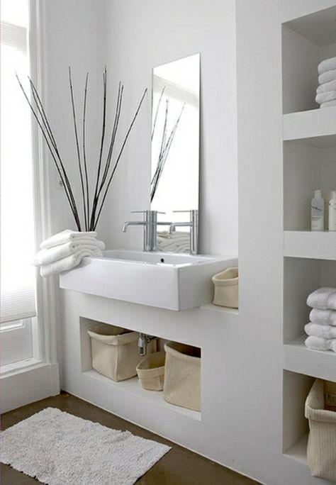 Moderne Badezimmer Ideen - coole Badezimmermöbel Wohnen - wohnzimmer vorwand mit deko nische