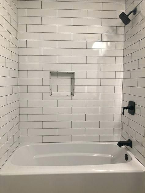 More click [...] 4x16 Subway Tile Shower Kanancash 416 White ... on bathroom tub ideas, bathroom shower ideas, bathroom tub surround tile design, rustic shower tile design, bathroom tiles for small bathrooms,