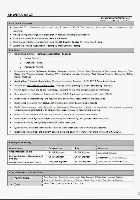 curriculum vitae profesional word Sample Template Example - sample software tester resume