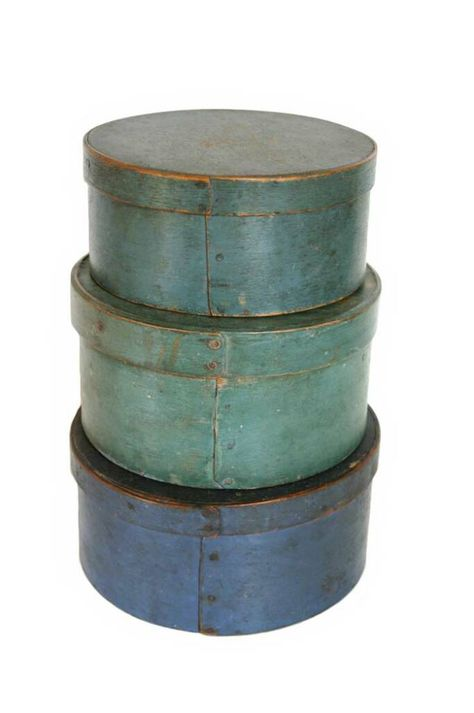 Love antique pantry boxes-especially these blue ones