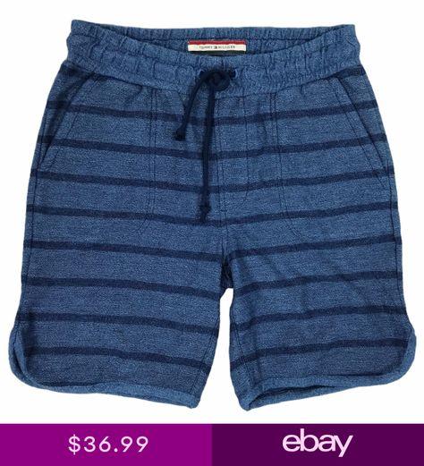 Tommy Hilfiger Mens Dark Blue 100 Cotton Striped Drawstring Shorts C8878 Drawstring Shorts Patterned Shorts Tommy Hilfiger