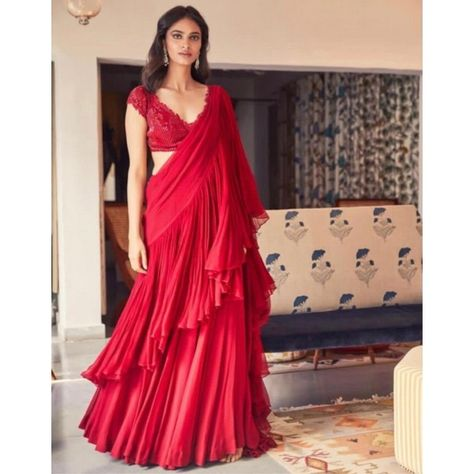 Stylist ruffle georgette partywear saree with sequence work blouse