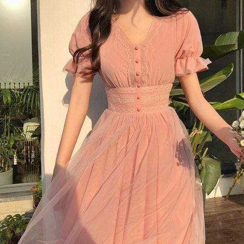 2020 New Summer Mesh Dress Female V neck Short Puff Sleeve A line Women Dress Slim Korean Style Mesh Elegant Vintage Vestidos|Dresses|   - AliExpress