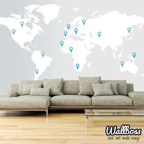 Extra Large World Map Decal 11ft X 5 7ft 3 5m X 1 73m Wall Sticker