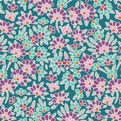 Tilda LazyDays Mildred Lilac Teal 100/% Cotton Fabric Floral Flowers Abstract NEW