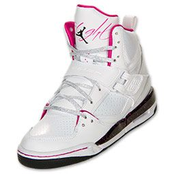 0936edf73b56c Girls' Jordan Grade School Flight 45 High Basketball Shoes | FinishLine.com  | White/Black/Fusion Pink
