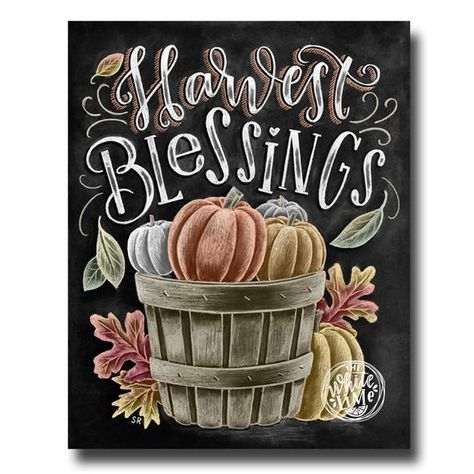 Harvest Blessings, Chalkboard Art, Chalk Art, Fall Decor, Fall Leaves, Pumpkin Art, Autumn Decor, Chalk Lettering, Fall Basket, Calligraphy