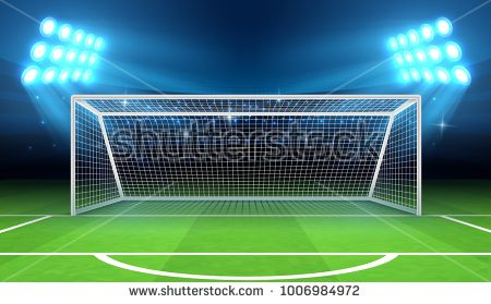 Sports Stadium With Soccer Goal Vector Illustration Soccer Field And Stadium Football Arena With Gate Soccer Goal Sports Stadium Soccer