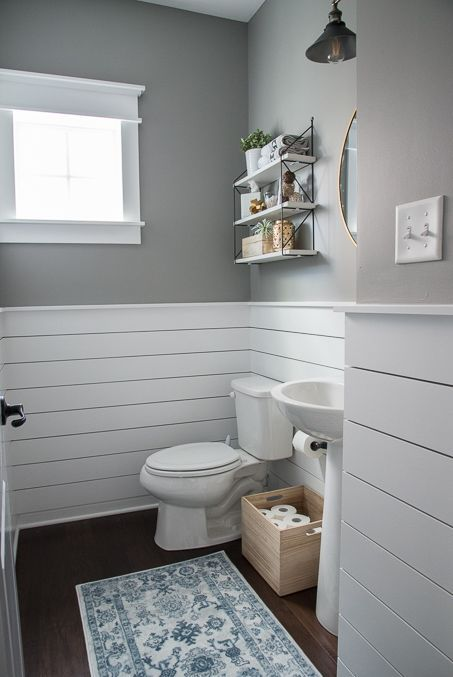 Check out this beautiful powder room reveal! This tiny bathroom was transformed . Check out this beautiful powder room reveal! This tiny bathroom was transformed from boring to fresh and modern! I love the shiplap and the modern classic decorations. Modern Powder Rooms, Small Bathroom Decor, Tiny Bathrooms, Bathroom Decor, Shiplap Bathroom, House Bathroom, Bathrooms Remodel, Bathroom Makeover, Bathroom Design