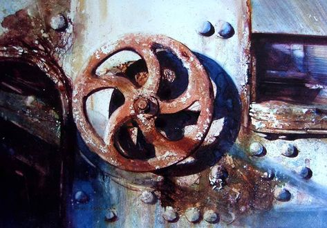 "David Poxon on Instagram: ""Wheel of Fortune. #Purewatercolour #davidpoxonwatercolour #wheeloffortune #wabisabi #rustic #rust #follow #yesitswatercolor #masterpieces…"""