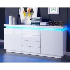 FLASH Buffet contemporain avec LED laqué blanc brillant - L 175 cm