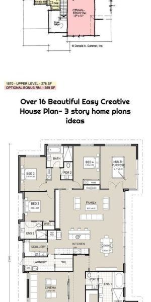 Over 16 Beautiful Easy Creative House Plan 3 Story Home Plans Ideas