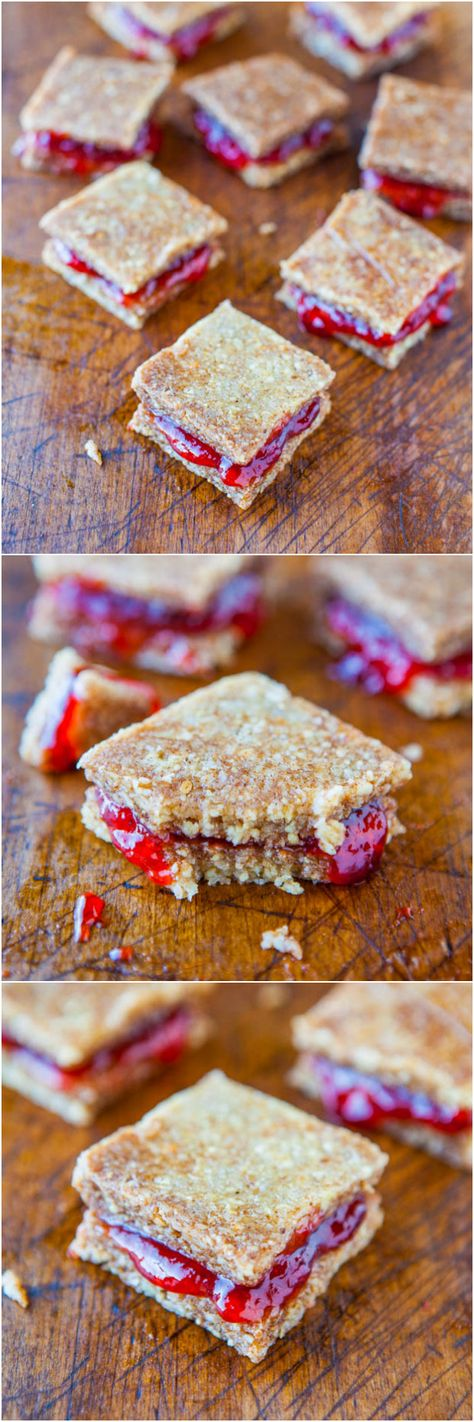 Peanut Butter and Jelly Coconut Cashew Sandwich Cookies (no-bake, vegan, gluten-free) - Healthier peanut butter cookies that are so easy to make! Great on their own but even better as sandwich cookies!