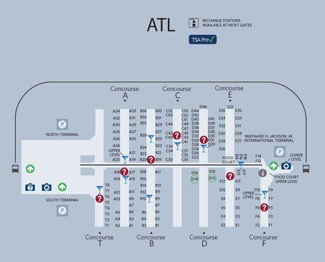 atlanta airport terminal c map maps pinterest usa cities and city