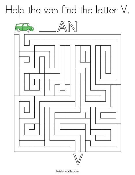 Help The Van Find The Letter V Coloring Page Twisty Noodle Letter V Lettering Coloring Pages