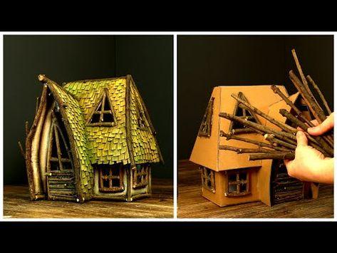 Cardboard Playhouse, Cardboard Furniture, Cardboard Crafts, Playhouse Furniture, Miniature Fairy Gardens, Miniature Houses, Cardboard Fireplace, House Lamp, Fairy Garden Houses